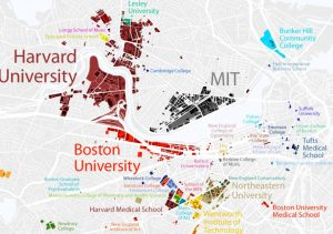 mapa universidades de boston