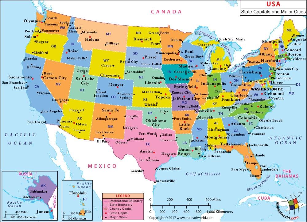 ciudades de estados unidos mapa